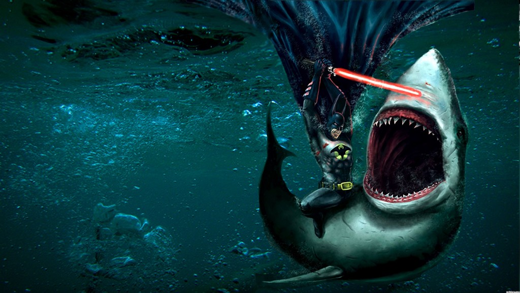 If that's not enough, here he is fighting a shark with a lightsaber.