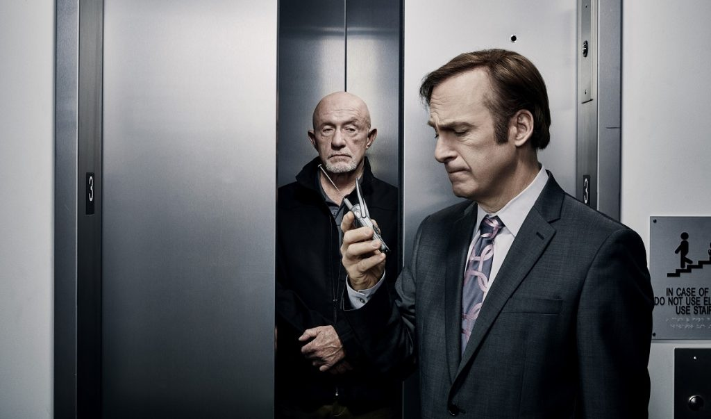 Jonathan Banks as Mike Ehrmantraut and Bob Odenkirk as Jimmy McGill - Better Call Saul _ Season 2, Gallery- Photo Credit: Ben Leuner/AMC